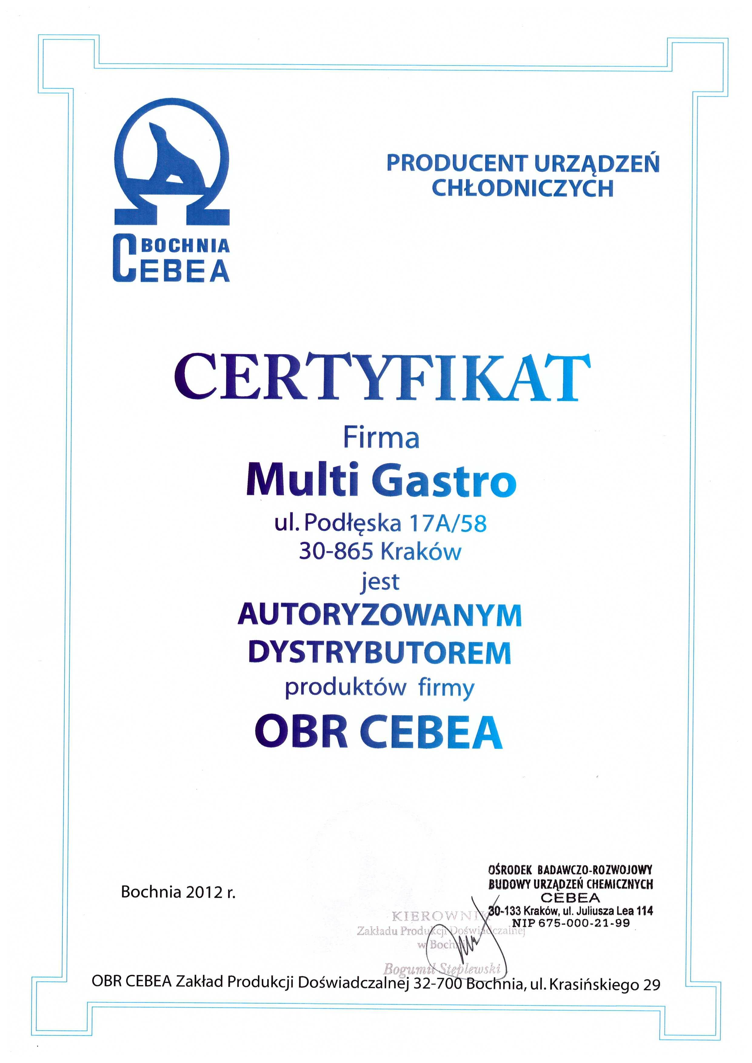 certyfikat dla Multi Gastro