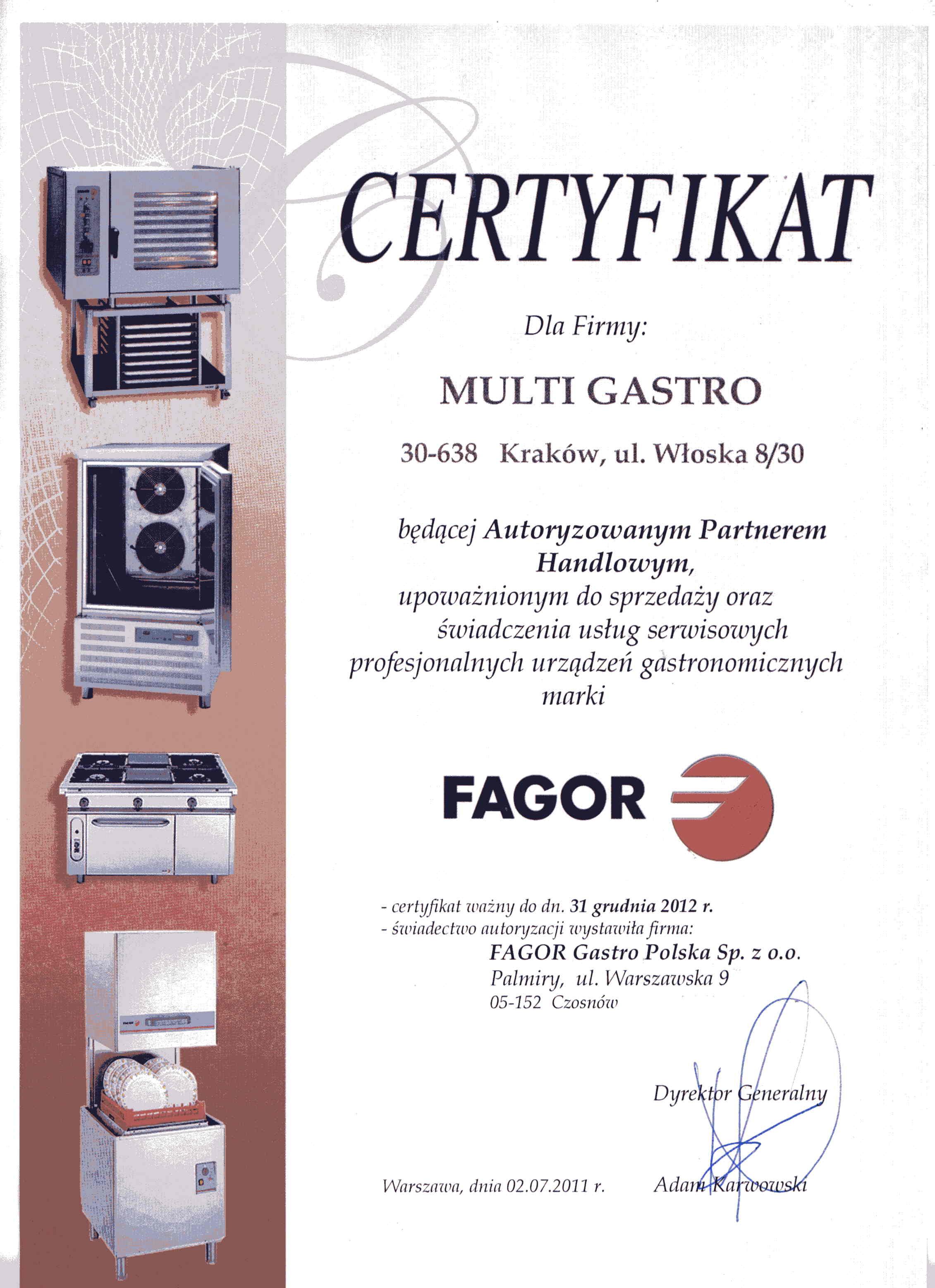 certyfikat fagor